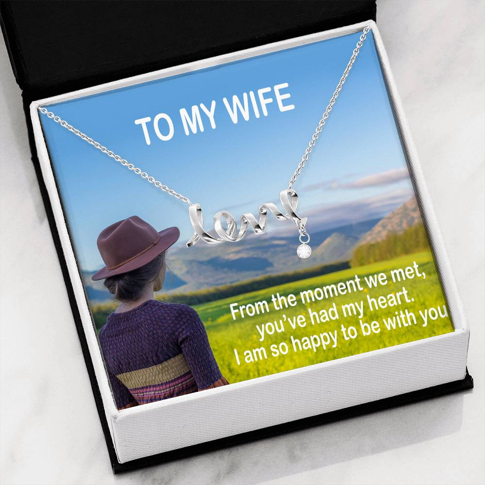 Romantic Gift You're Perfect Wife Necklace Beautiful Jewelry14k White Gold Finish W/T Nice Card