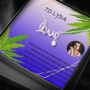 Woman Necklace Unique Gift For Sister Cz Jewelry Love In Script Handmade In USA W/T Custom Card