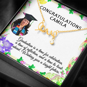 Perfect Gift Congratulation Graduation Necklace Trendy Jewelry Made In USA and 	Personalize Card