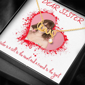 Dear Sister Cute Gift Women Jewelry Script Necklace 18k Yellow Gold Finish W/T Personalize Card
