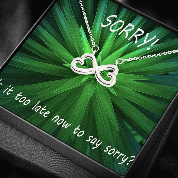 So Sorry My Mistake Pendant Jewelry Infinity Necklace 18k Yellow Gold Handmade W/T Apology Card