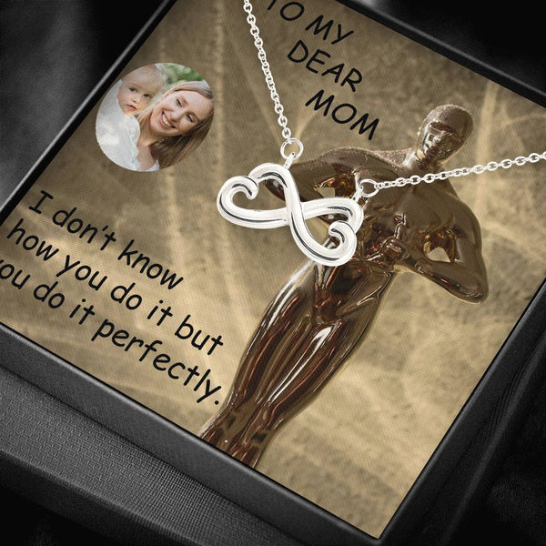 Mom Dear Cute Gift Trendy Jewelry Infinity Necklace 14k White Gold Finish Handmade W/T Customize Card