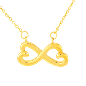 Miss You Friend Perfect Gift Trendy Jewelry Infinity Necklace 18k Yellow Gold Finish W/T Best Card