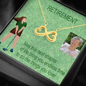 Retirement Gifts For Women Trendy Jewelry Infinity Necklace 18k Gold Finish W/T Customize Card