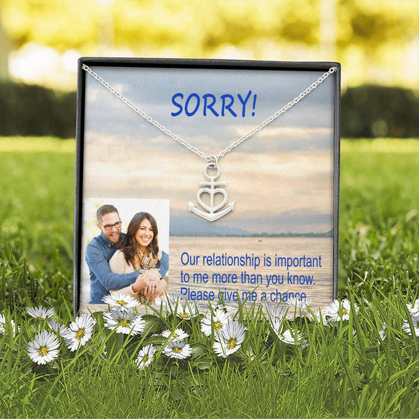 Sorry Give Me A Chance Nice Gift Trendy Jewelry Pendant Necklace Surgical Steel W/T Apology Card