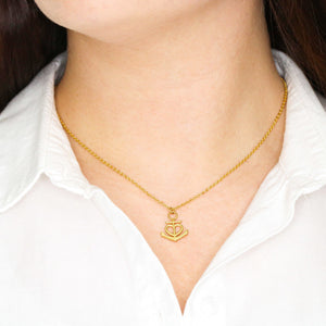 Apologies Gift Women Jewelry Anchor Necklace 18k Yellow Gold Finish Handmade W/T Sorry Card