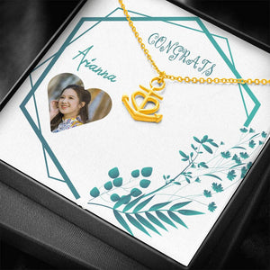 Congrats New Journey Present Gift Beautiful Jewelry Trendy Necklace Anchor Pendant Personalize Card