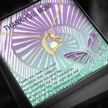 Thanks Mom USA Handmade Gift For Mom Gold Plated Necklace Cubic Zirconia W/T Pretty Card