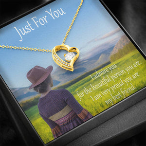 Just For You Cute Gift CZ Jewelry Forever Love Necklace 14k & 18k Gold Plated Handmade W/T Nice Card