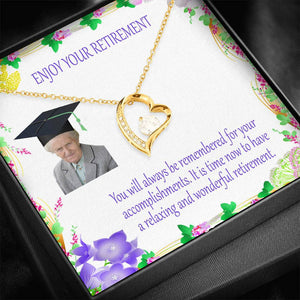 Unique Retirement Gifts Luxury Jewelry Forever LOVE Necklace Cubic Zirconias W/T Customize Card