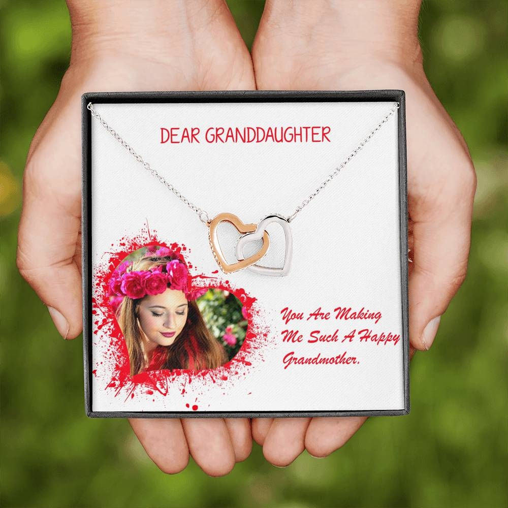 Granddaughter Gift Trendy Jewelery Interlocking Necklace Cubic Zirconia Stones W/T Customize Card