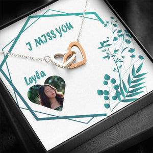 I Miss You Leyla Nice Gift Pretty Necklace Best Jewelry CZ Stones High Quality And Personalize Card