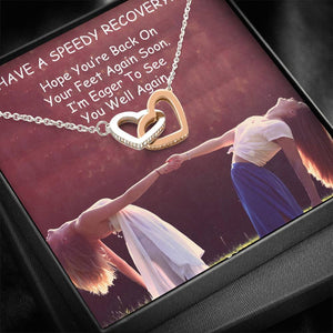 Bless Gift Get Better Soon Interlocking Necklace Cubic Zirconia Stone 18k Rose Gold W/T Best Card