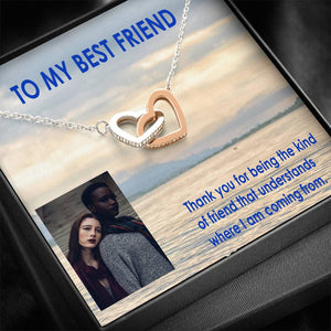 Good Gifts To My Best Friend Interlocking Heart Necklace Trendy Jewelry High Quality W/T Custom Card