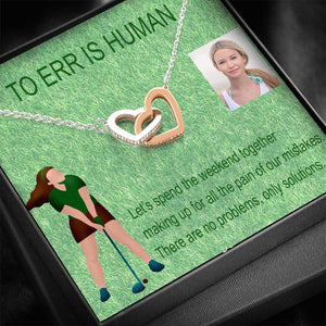 Apology Gift Sister Jewelry Interlocking Heart Necklace Cubic Zirconia Stones W/T Beautiful Card