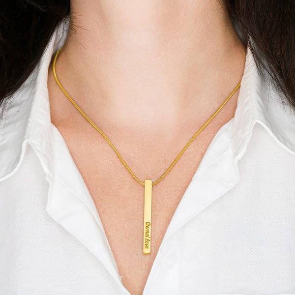 Vertical Stick - Your Message on 2 Sides - Luxury SS/18k GF - Snake Chain Necklace