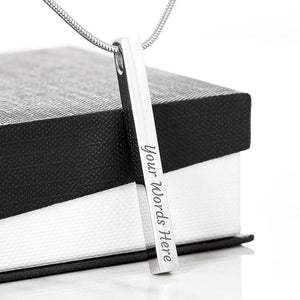 2 Sides Engraved Vertical Stick Stainless Steel or Gold Plated Necklace With Greeting Card