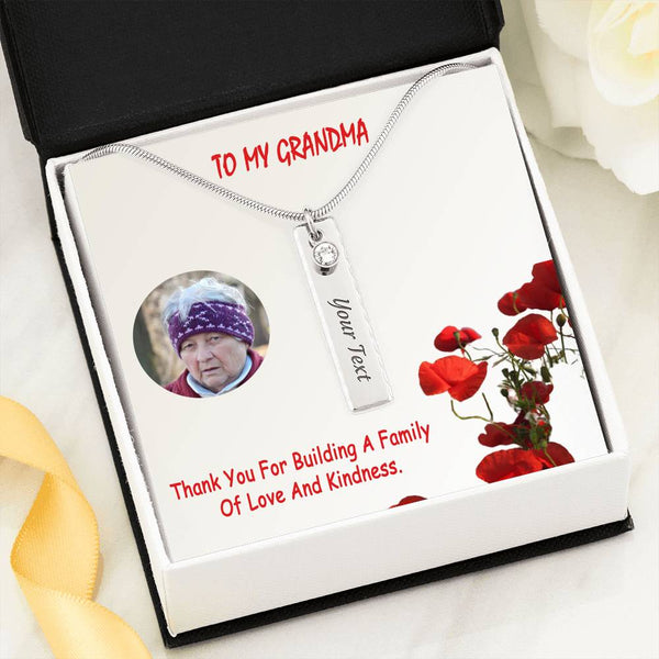 Gift To Grandma Luxury Jewelry Birthstone Necklace Stainless Steel Handmade W/T Customize Card