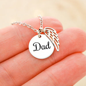 Loss Of Dad Grief Gift - Remembrance Angel Necklace W/T Unique Sympathy Card Who Father Passing Away