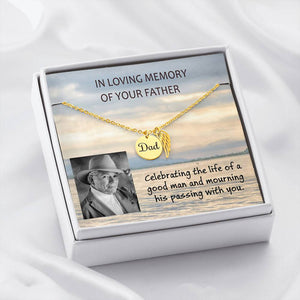 Loss of Father Message Card W/T Angel Wing Necklace Gift - Customize Picture, Text & Font