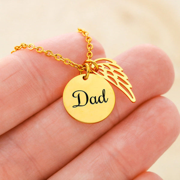 Dad Memorial Necklace & Guardian Angel Charm W/T Sympathy Card Messages For Loss Of Father