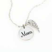 Necklace Angel Wings Coin W/T Personalized Grievance Card & Memorial Box For Loss Of Mother