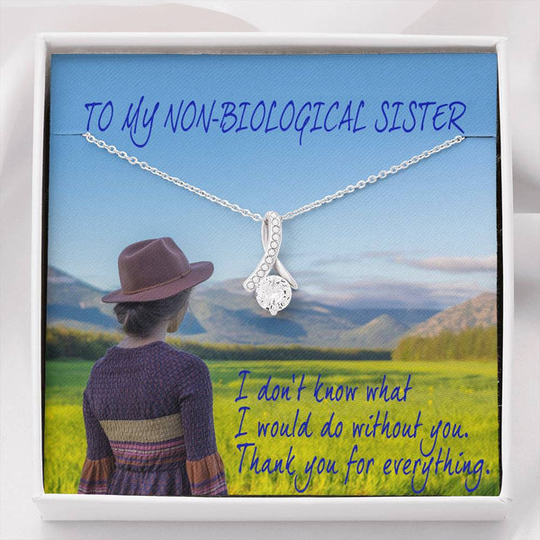 Non Biological Sister Jewelry Necklace Cubic Zirconia 14k White Gold Finish Handmade Best Card