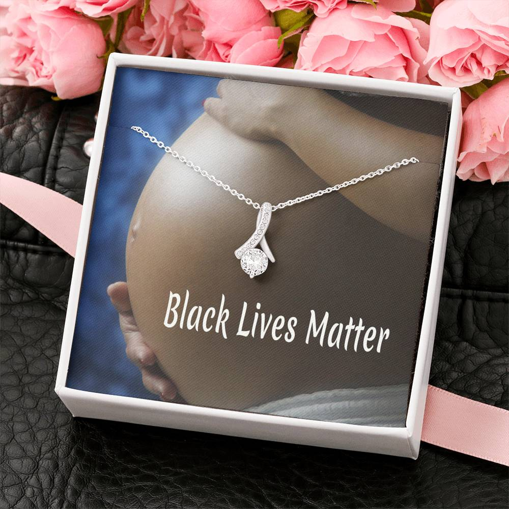 Black Lives Matter Pendant Necklace 14k Gold Plated Cubic Zirconia Handmade W/T Best Card