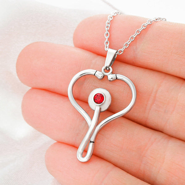 Miss You Friend Women Gift Cute Jewelry Stethoscope Necklace Red Swarovski Crystal W/T Nice Card