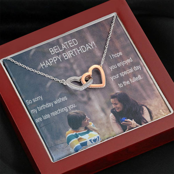 Belated Happy Birthday Pretty Gift Beautiful Jewelry Interlocking Heart Necklace W/T Nice Card