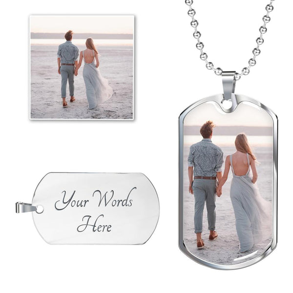 Photo Dog Tag - SS or 18k GF - Luxury Military Ball Chain