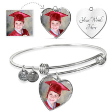 Photo Heart Charm - Luxury SS or 18k GF Surgical Steel Adjustable Bangle
