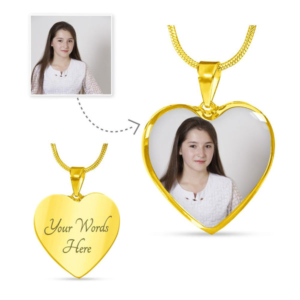 Photo – Heart Pendant - Luxury SS/18k GF Small Snake Chain Necklace