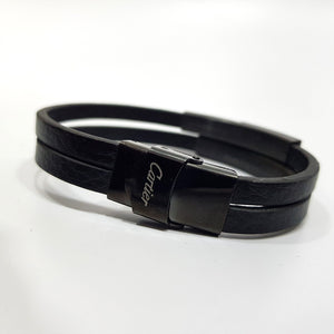 Cartier Stack Mens Leather Bracelet |Black