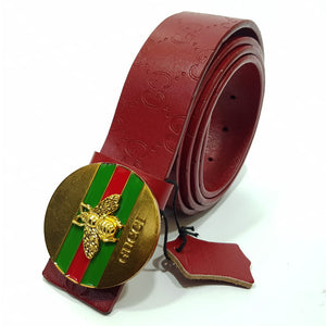 mens belt head leather wine red
