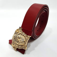 mens crested leather belt gold head gucci