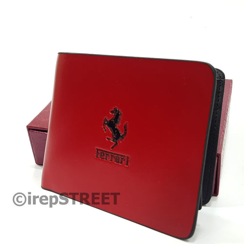 Ferrari bifold mens wallet, wetlook money purse.