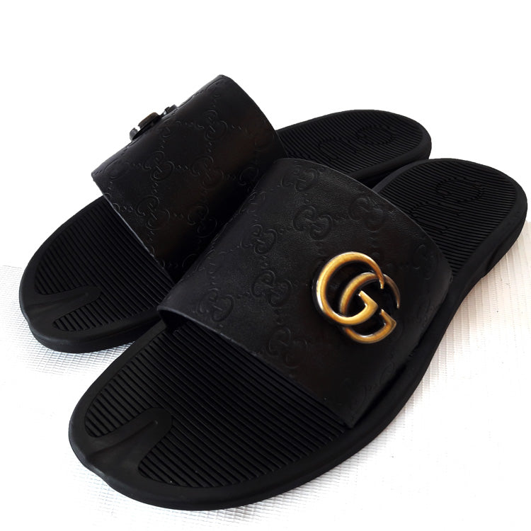 Gucci patterned crested slips | Black