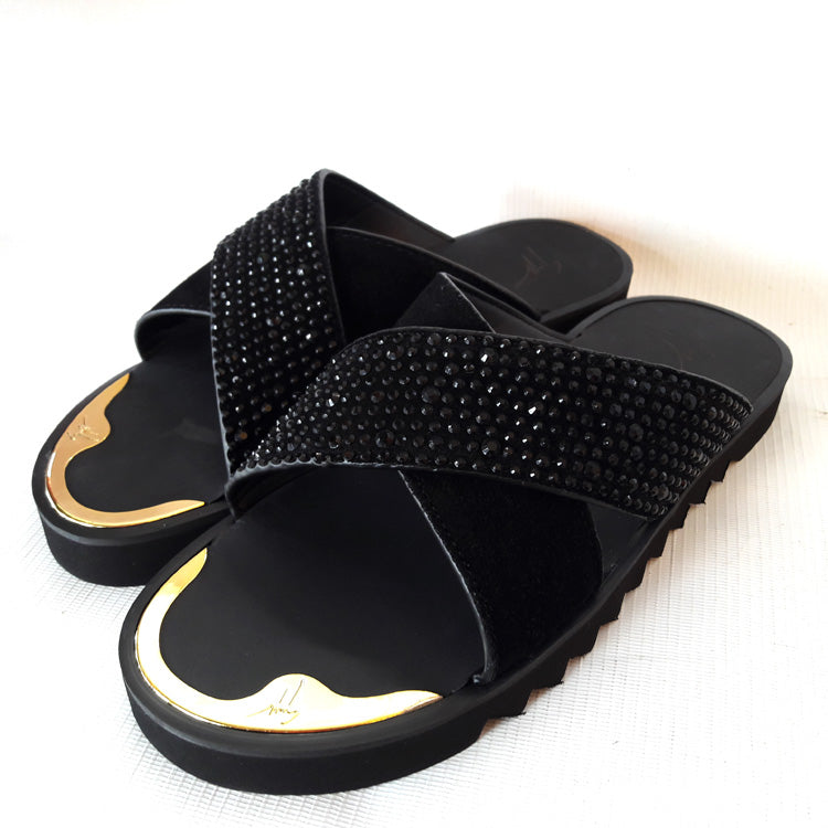 Giuseppe studded criss-cross slips | Black