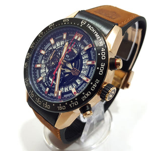 TAG Heuer chronograph mens leather watch | Brown