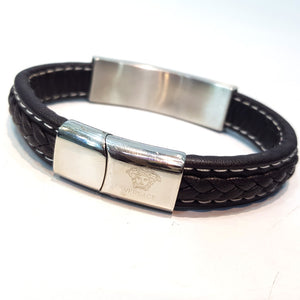 Versace Mens Leather and steel Bracelet | Brown