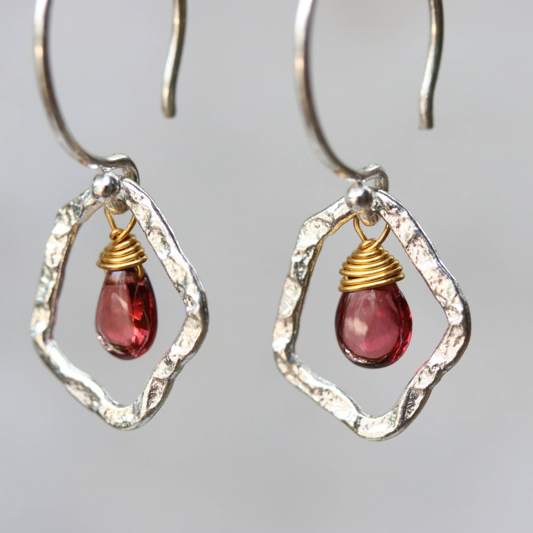 Earrings,Teardrop cabochon garnet with brass wire wrapped and silver ...