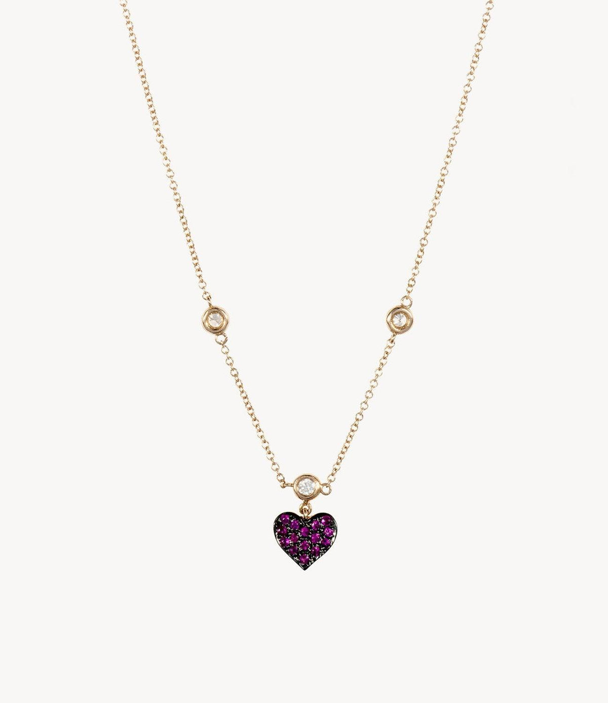 Mini Diamond and Ruby Heart Necklace