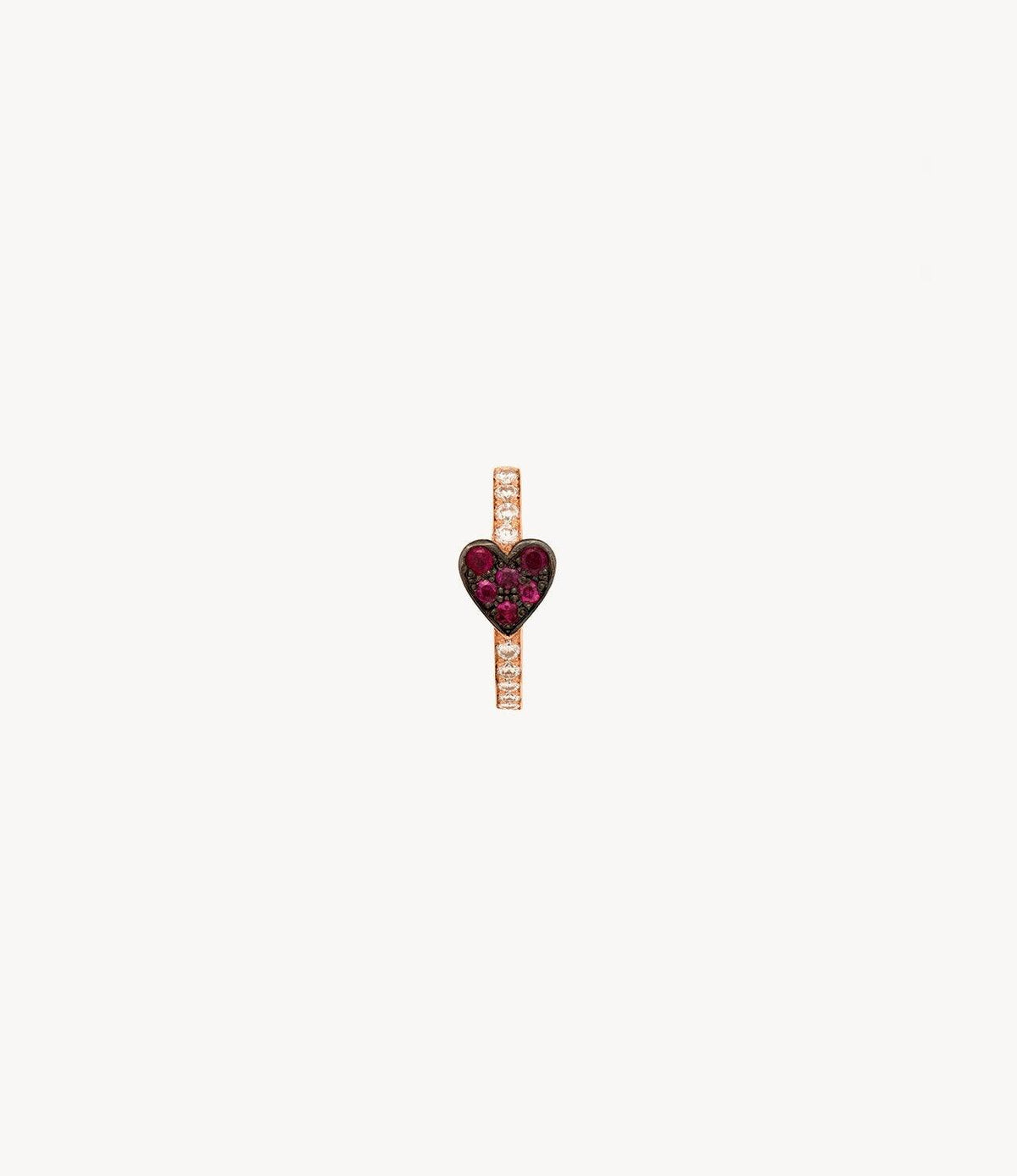 Ruby Heart Diamond Hoop