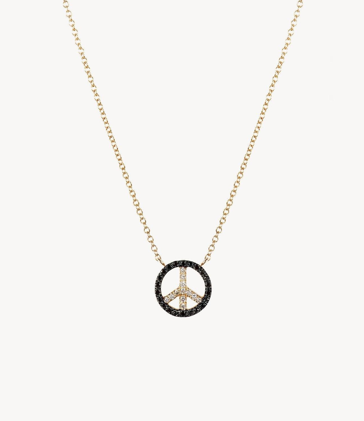 Mini Black Diamond Peace Necklace