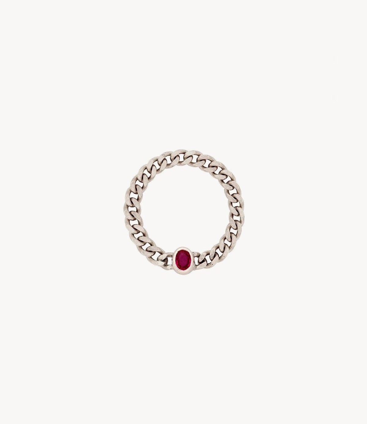 Oval Ruby Chain Ring
