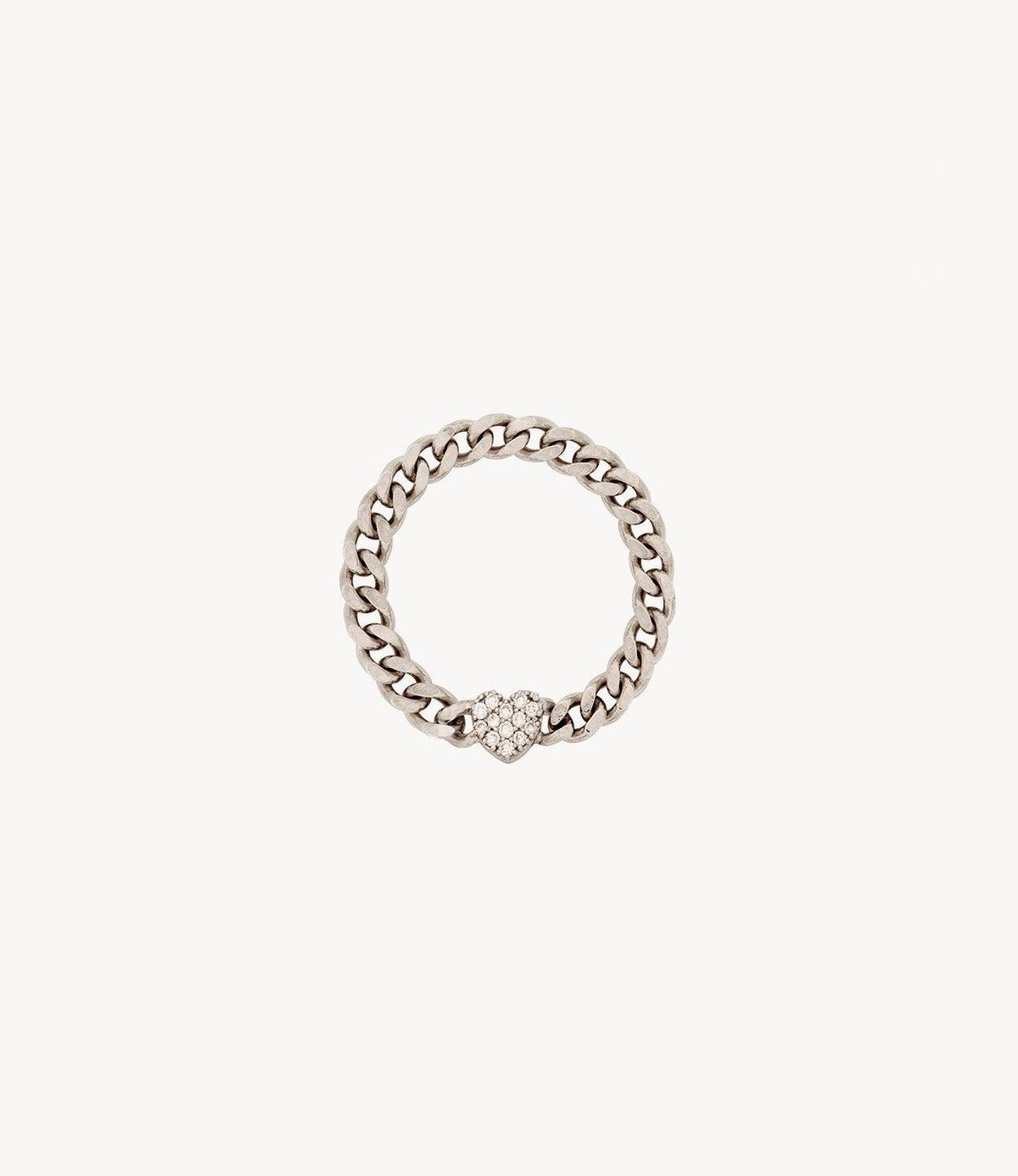 Mini Diamond Heart Chain Ring