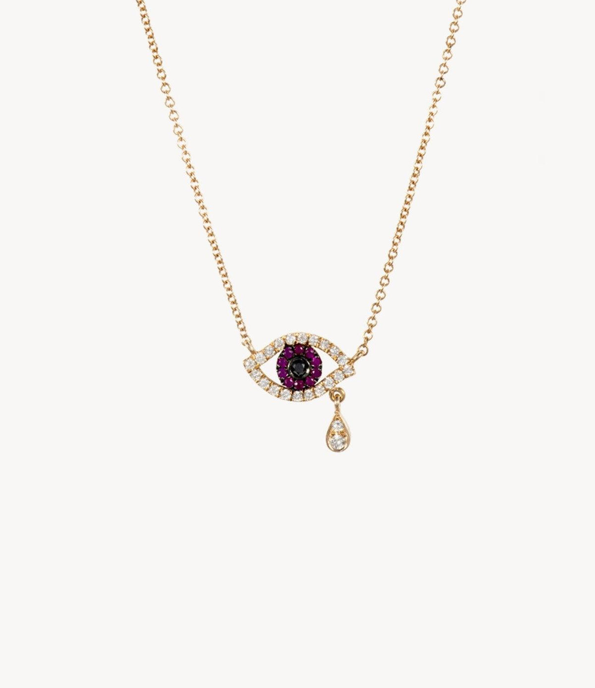 Mini Ruby Eye Tear Drop Necklace