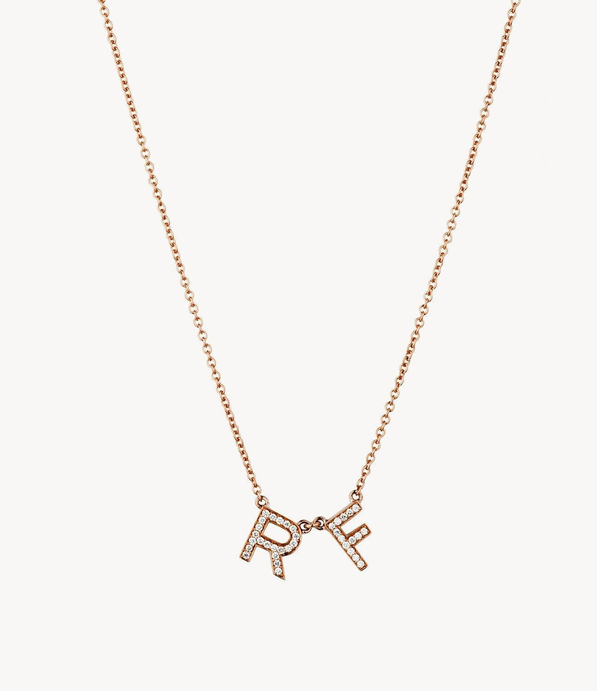 Rose Gold, Chunky Diamond Letter Necklace
