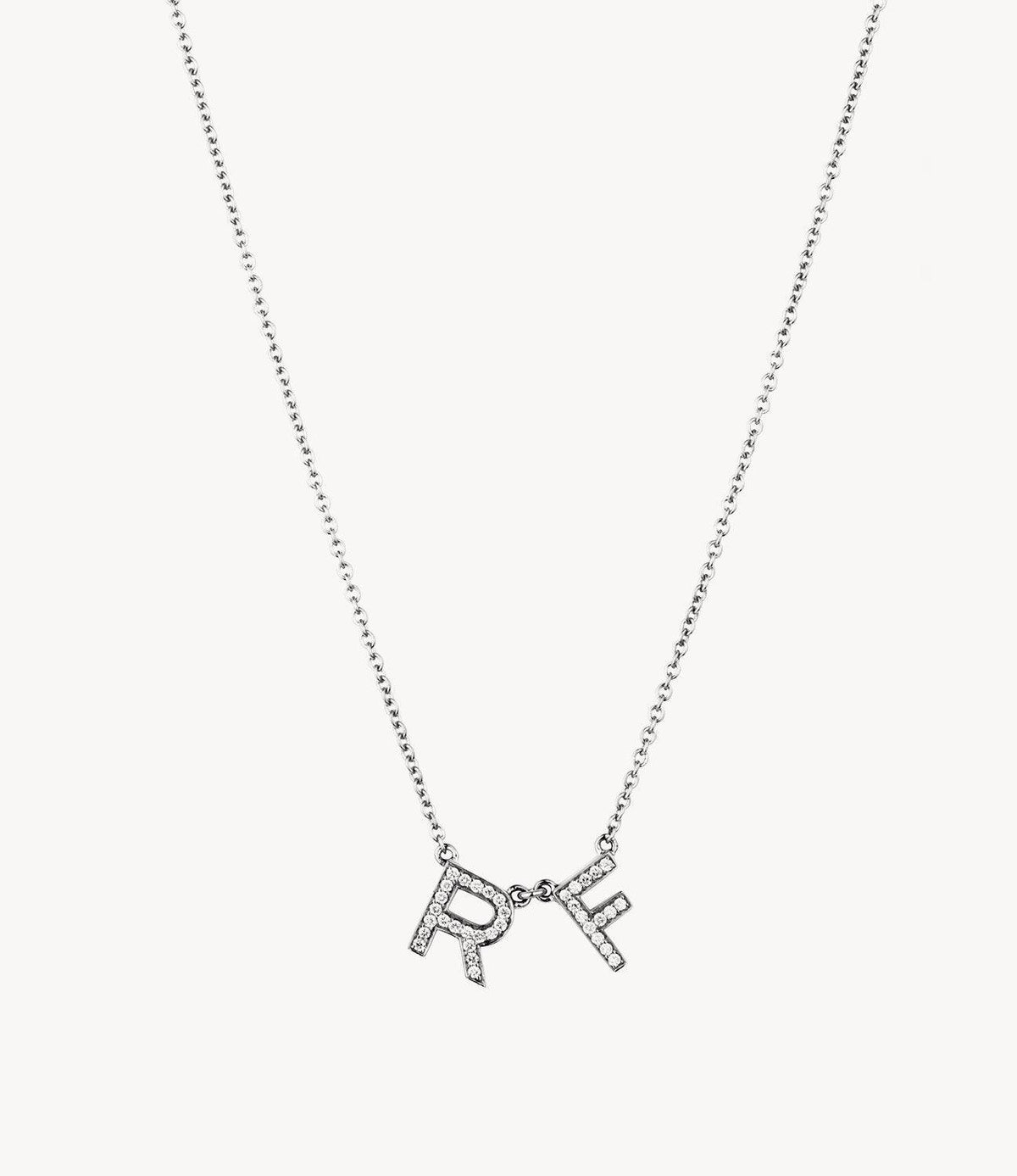 White Gold, Chunky Diamond Letter Necklace
